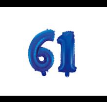 Folieballon 61 jaar blauw 86cm