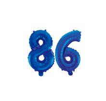 Folieballon 86 jaar blauw 86cm