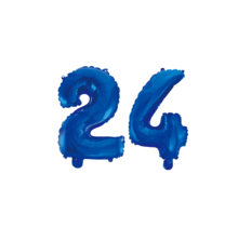 Folieballon 24 jaar blauw 41cm