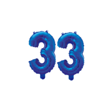 Folieballon 33 jaar blauw 41cm