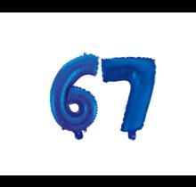 Folieballon 67 jaar blauw 41cm
