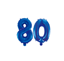 Folieballon 80 jaar blauw 41cm