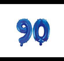 Folieballon 90 jaar blauw 41cm