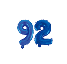 Folieballon 92 jaar blauw 41cm