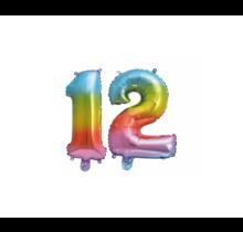Folieballon 12 jaar Regenboog 41cm