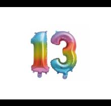 Folieballon 13 jaar Regenboog 41cm