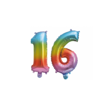 Folieballon 16 jaar Regenboog 41cm