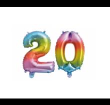 Folieballon 20 jaar Regenboog 41cm