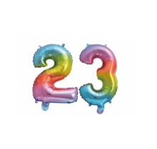 Folieballon 23 jaar Regenboog 41cm
