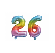 Folieballon 26 jaar Regenboog 41cm