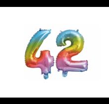 Folieballon 42 jaar Regenboog 41cm