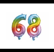 Folieballon 68 jaar Regenboog 41cm