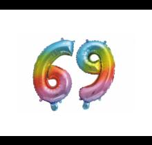 Folieballon 69 jaar Regenboog 41cm