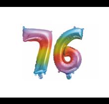Folieballon 76 jaar Regenboog 41cm