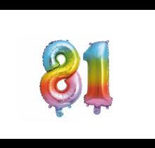 Folieballon 81 jaar Regenboog 41cm