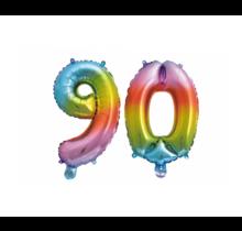 Folieballon 90 jaar Regenboog 41cm