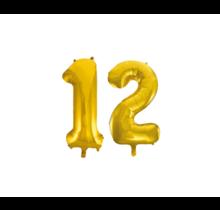 Folieballon 12 jaar Goud 86cm