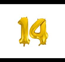 Folieballon 14 jaar Goud 86cm
