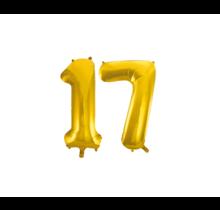 Folieballon 17 jaar Goud 86cm