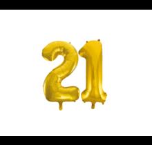 Folieballon 21 jaar Goud 86cm