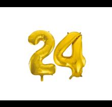 Folieballon 24 jaar Goud 86cm