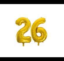 Folieballon 26 jaar Goud 86cm