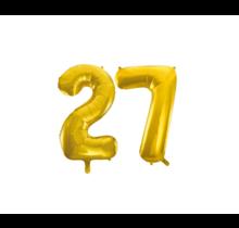 Folieballon 27 jaar Goud 86cm
