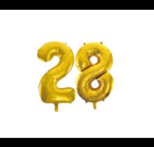Folieballon 28 jaar Goud 86cm