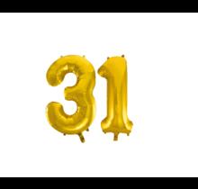 Folieballon 31 jaar Goud 86cm