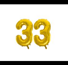 Folieballon 33 jaar Goud 86cm