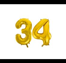 Folieballon 34 jaar Goud 86cm