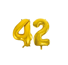 Folieballon 42 jaar Goud 86cm