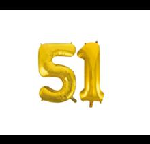 Folieballon 51 jaar Goud 86cm