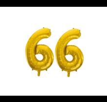 Folieballon 66 jaar Goud 86cm