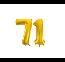 Folieballon 71 jaar Goud 86cm