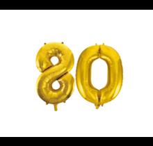 Folieballon 80 jaar Goud 86cm