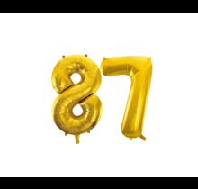 Folieballon 87 jaar Goud 86cm
