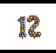 Folieballon 12 jaar stippen 86cm