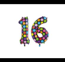 Folieballon 16 jaar stippen 86cm