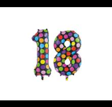 Folieballon 18 jaar stippen 86cm
