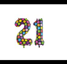 Folieballon 21 jaar stippen 86cm