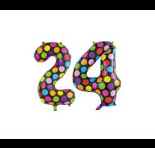 Folieballon 24 jaar stippen 86cm