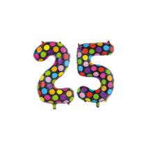Folieballon 25 jaar stippen 86cm