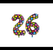 Folieballon 26 jaar stippen 86cm