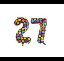 Folieballon 27 jaar stippen 86cm
