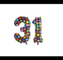 Folieballon 31 jaar stippen 86cm