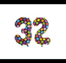 Folieballon 32 jaar stippen 86cm