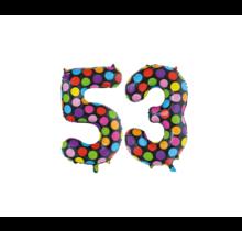 Folieballon 53 jaar stippen 86cm