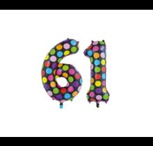 Folieballon 61 jaar stippen 86cm
