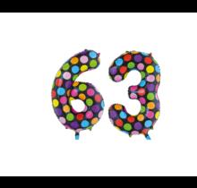 Folieballon 63 jaar stippen 86cm